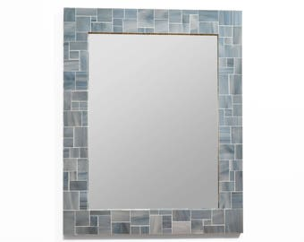 Grey Mirror – Mosaic Tile Mirror for Wall or Powder Room in 4 Sizes