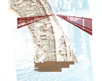 "18 x 24"" Minneapolis Stone Arch Bridge Screen Print Poster"