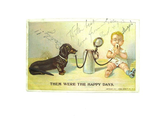 Novelty Dachshund Postcard Metal Spring Tail Add On Doxie Dog and Baby Drinking from Beer Stein Comic Antique 1910s Paper Ephemera