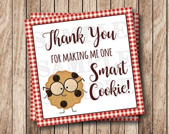Instant Download . Printable One Smart Cookie Tags, Thank You For Making Me One Smart Cookie Tags, Printable Thank You Tags, Red Gingham