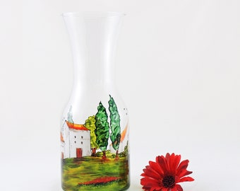 Hand painted carafe / Decanter / Glass jug / Vase / Village Provencal collection