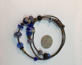 3 Times Wrap Bracelet on Leather 2