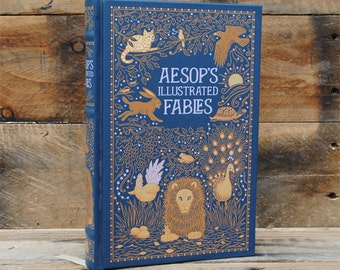 Book Safe - Aesop's Illustrated Fables - Leather Bound Hollow Book Safe