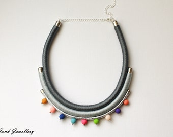 Statement rope necklace / bib necklace / color block / grey / silver / colorful / beads / gift for her / handmade