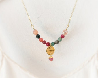 Semiprecious Stone Necklace,  Agate Necklace,  Burgundy  Emerald Necklace,  One Strand Necklace