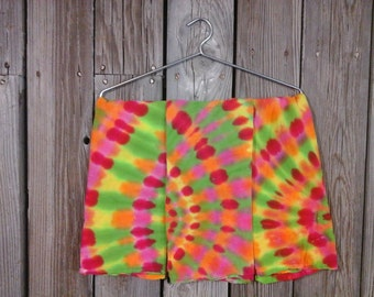 Set of 3, Cute Tie-Dye Flower Sack Dish Towels Pre-Made. Summery Pink, Fuchsia, Yellow, Orange, and Green. Ready to Ship.