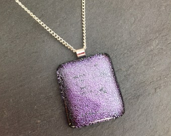 Large purple pendant, purple fused glass pendant, purple dichroic glass