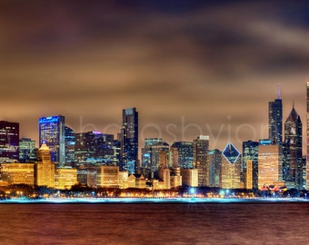 CANVAS Chicago Skyline at NIGHT 2015 Panoramic Print Panorama Photo Picture