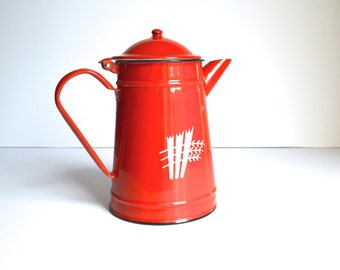 Red Enamelware Coffee Pot Large Red Coffee Pot Made in Romania