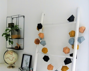 Origami string light mustard yellow, beige, grey and black