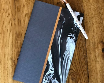 40 page journal with marbled and metallic cover
