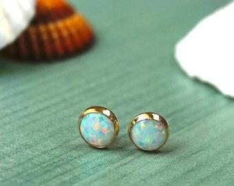 14K Opal Stud Earrings, 14k Gold Earrings, White Opal Earrings, Opal Earrings, Gold Studs, Gift for Her, October Birthstone, Wedding Jewelry
