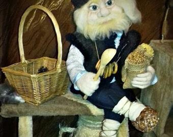 brownie, goblin, handmade toys, doll, Home decor, Wool doll, Souvenirs, brownie handmade,  Brownie on order, Goblin on order, Halloween,