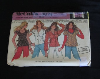 Vintage CUT 1970s McCall's 3838, Tie Back Baby Doll Top, Size 10, Bust 32 1/2in