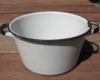 Antique White and Black Enamelware Pot, 2 Handled Stock Pot