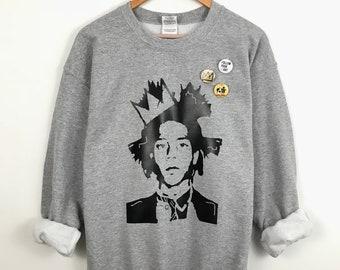 Basquiat sweatshirt. Jean Michel. Sweatshirt. Art sweatshirt. Art Gift. Heather Grey. Pop Art. Neo Expressionist. Basquiat. Basquiat crown.