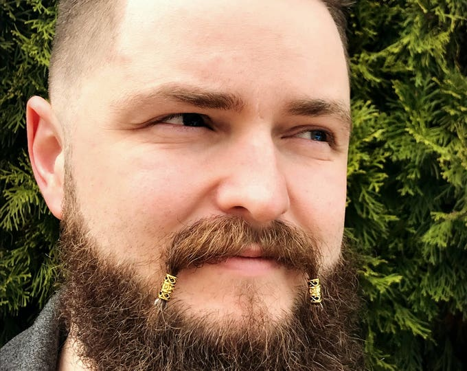 Featured listing image: Mustache Bead KIT #3 beard beads viking beard beads biker beads Celtic beard beads beard care mustache beads Steampunk mustache kit