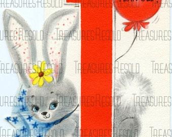 Happy Birthay One Year Old Bunny Card #182 Digital Download
