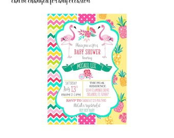 Flamingo and Pineapple Invitation 4x6 or 5x7 digital you print your own- Design 236