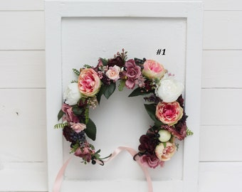 Rose peony flower crown Wedding hair wreath Bridal headpiece Pink white burgundy flower crown Boho Flower headband Wedding set Mommy and me