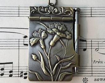 Antique French Art Nouveau Dance Card Flowers Carnation c1900