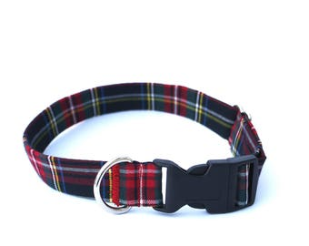 Black Plaid Dog Collar