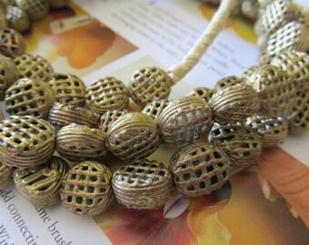 15mm Ghana Brass Beads, Handmade, Round Tabular, African Brass Akan Beads, Bronze Lattice Baule, 5 Pcs