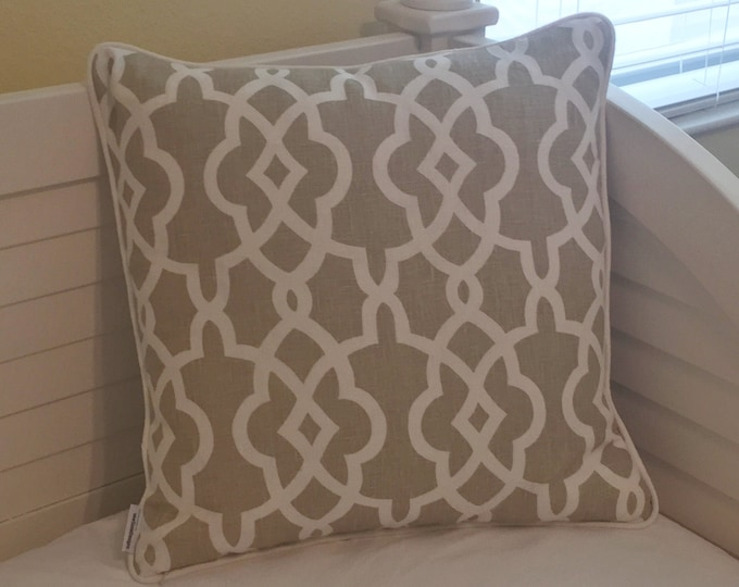 Schumacher Summer Palace Fret in Sand (Both Sides) Designer Pillow Cover with  or without Piping - Square, Euro and Lumbar Pillow Cover