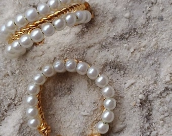 Pearl Earrings, Screwback, Hoop, Gold Trim
