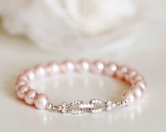 Blush Pink Pearl Bracelet Blush Wedding Jewelry Bridesmaid Gift Bracelet Bridesmaid Jewelry Pink Bridesmaid Bracelet Pearl Bridal Bracelet