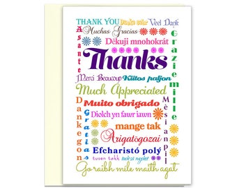 Thank You Card | International Thanks Greeting Card | Gracias Card | Gratitude Card | Thank You Note | Thank You Card for Friend