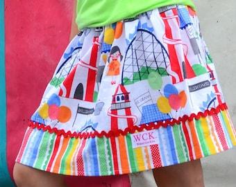 Michael Miller Funfair skirt  (2T, 3T, 4T, 5, 6, 7, 8, 10)