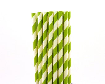 Bright Green Striped Paper Straws-Bright Green Straws-Turtle Party Straws-Dinosaur Birthday Party-Striped Paper Straws-Drinking Straws