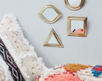 Geometric Wall Mirror Set || Gift ||Set of 4 || Brass || Moroccan Mirrors || Mini