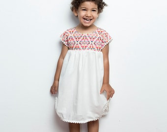 Mexican Pom Pom Dress, Girls Mexican Dress, Vestidos Mexicanos, White Cotton Dress, Unique Dress, Mexican Dress Toddler, Poncho Dress, Party