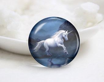 Handmade Round Unicorn Photo Glass Cabochons (P3558)
