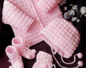 Baby Matinee Jacket, Bonnet Mittens and Bootees instructions for Dk 8ply yarns  18 - 22 ins -  PDF of Vintage Crochet Patterns