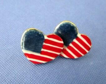 American Flag Porcelain Post Earrings