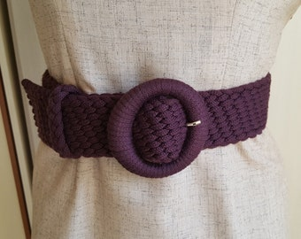 Aubergine Knitted Belt made in Italy One size deadstock