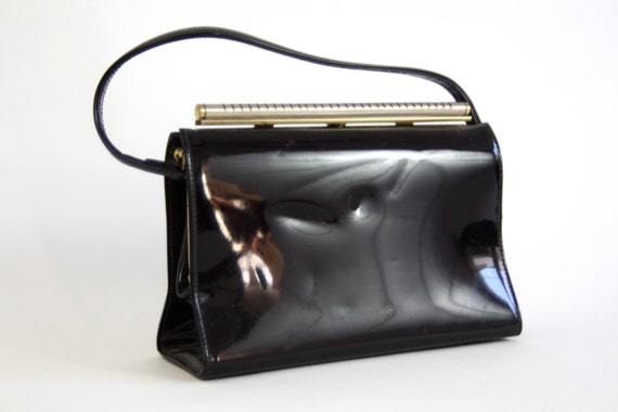 Vintage 60s Black Bag/ Patent Leather Handbag/ Theodore of California/ Metal Frame/ Black Pocketbook/ Top Handle/ 1960s MAD MEN Purse