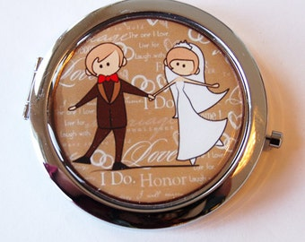 Compact mirror, Gift for bride, mirror, purse mirror, Wedding, Bride, bridal shower gift, Hen party (2048)