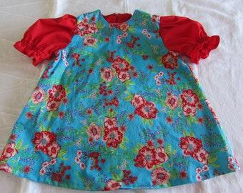 Floral Toddler Dress -  Baby Girl Dress - Size 12 Months - Red, Pink and Blue - Summer Dress - Handmade Dress