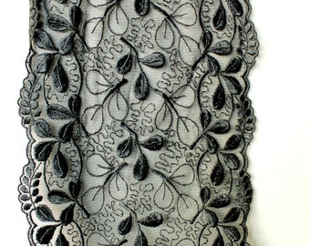 Black Net Lace Trim With Embroidered Flowers 61/2 inches wide - 041203L32