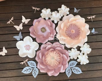 Miss Mia SUPER MINI paper flower backdrop/Paper flower wall/Wedding Backdrop/Bridal or Baby shower/Sweet table/Christening /Dessert table