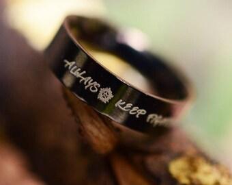 Always keep fighting HQ 5mm Black stainless steel ring