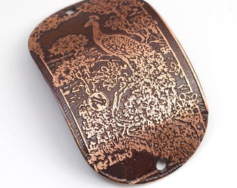 2 hole oval etched copper peacock bracelet component, large curved link, 2 inches x 1 1/4 inches long
