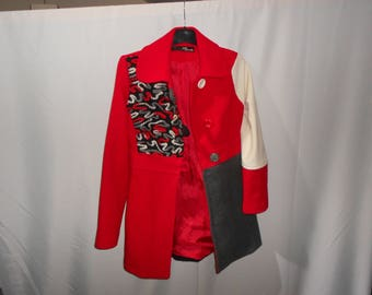Upcycled ladies coat,size small
