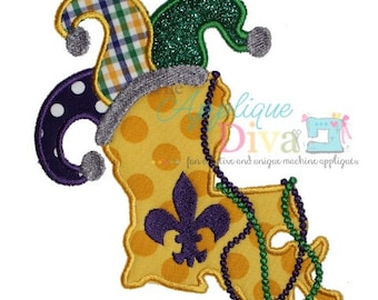 Mardi Gras Louisiana Digital Embroidery Design Machine Applique