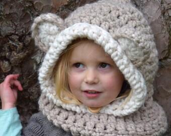 Chunky Hooded Bear Cowl  Crochet Hoodie, Chunky Crochet Hat, Teddy Bear Hoodie, Animal Hat, Hooded Scarf