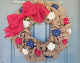 Burlap Wreath - Patriotic - Burlap Roses and Large Bow - 4th of July Wreath